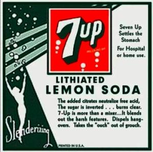 Etiqueta de 7 Up, todavía anunciada como bebida con contenido de litio,