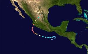 Trayectoria del huracán Patricia, octubre 2015. Imagen de Wikipedia